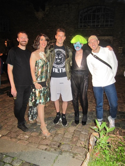 On the left is Morten Skurken Mechlenborg Nørulf, who organized the event. He also spearheads MIX, the city' annual queer film festival. To my right are Magnus, DJ Cockwhore and Andree.