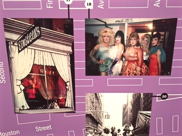 The photo is part of a timeline map of the East Village and indicates the address of The Pyramid Club (The photo was taken in the club's dressing room in 1992.)